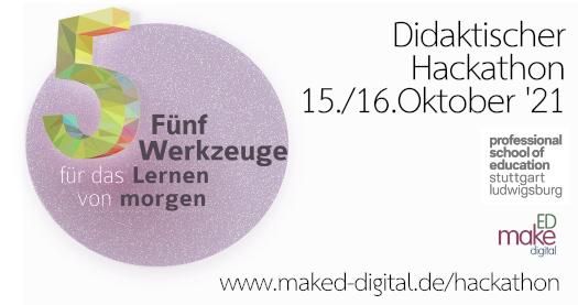 Postkarte des ersten Hackathons des Projekts MakEd_digital am 15.und 16.10.2021